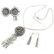 "Fleur-de-lis with Faux Pearls Antiqued Photo Locket Pendant 30"" to 32"" Necklace & Earring Set"