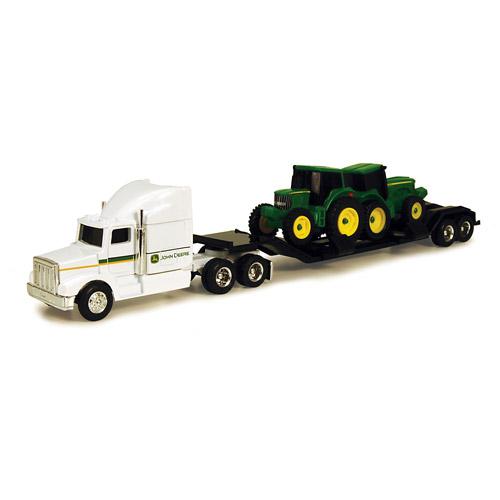 John Deere 1/64 Farm Hauler Semi with 2 Tractors Play Set