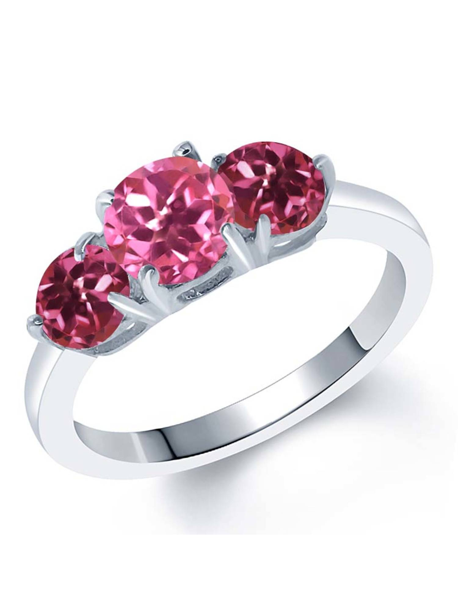 2.00 Ct Round Pink Mystic Topaz Pink Tourmaline 925 Sterling Silver Ring by