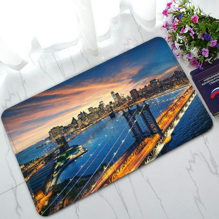 PHFZK New York City Doormat, Beautiful Sunset over Manhattan Doormat Outdoors/Indoor Doormat Home Floor Mats Rugs Size 30x18 inches - Party City Welcome Home
