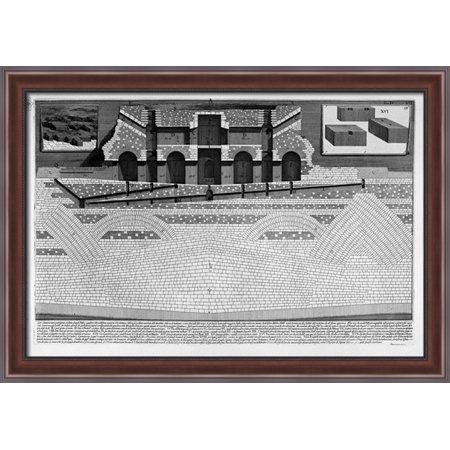 The Roman Antiquities  T  4  Plate Viii  Cutaway View Of The Mausoleum Of Hadrian And The Elio Bridge St  Angel 40X28 Large Walnut Ornate Wood Framed Canvas Art By Giovanni Battista Piranesi