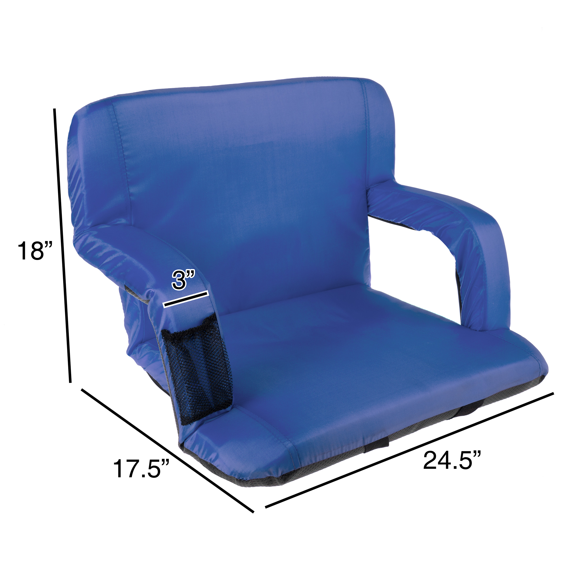 Picture of: Wide Stadium Seat Chair Bleacher Cushion Padded Back Support Armrests 6 Reclining Positions And Portable Carry Straps By Wakeman Outdoors Blue Walmart Com Walmart Com
