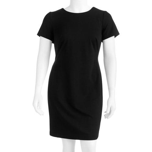 George Women's Plus-Size Colorblock Classic Ponte Dress