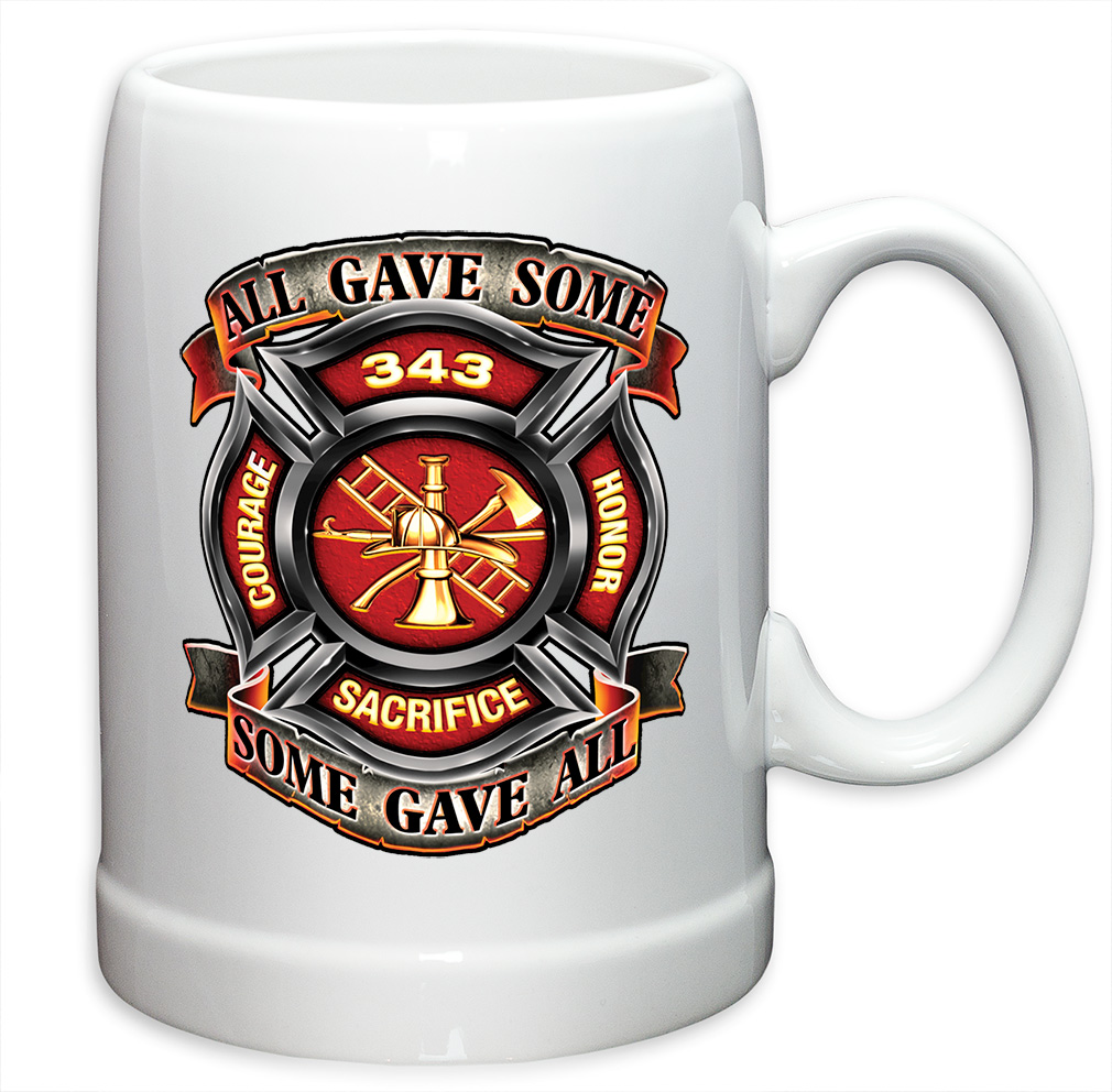 German Beer Stein � Firefighter Gifts for Men or Women � Fire Honor Courage Sacrifice 343... by