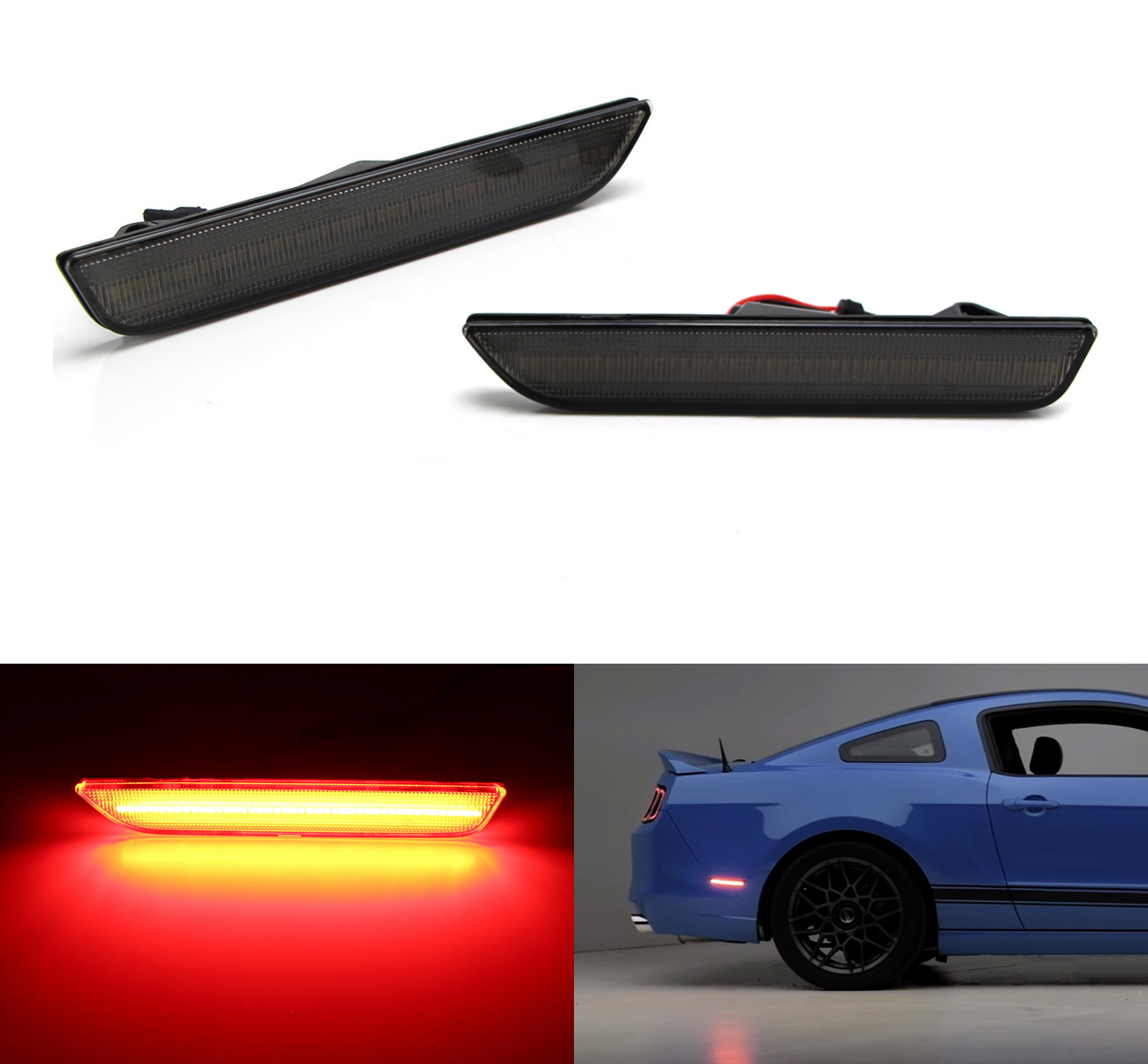 iJDMTOY (2) Smoked Lens LED Rear Side Marker Lamps with 45-SMD Red LED Lights For 2010-2014 Ford Mustang