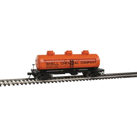 Chemical Tank Car - Walthers HO Scale 36' 3-Dome Tank Car Shell Chemical Co./SCMX #652 (Orange)