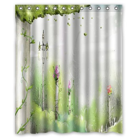 HelloDecor Paint Color Trees Nature Landscape Shower Curtain Polyester Fabric Bathroom Decorative Size 60x72 Inches