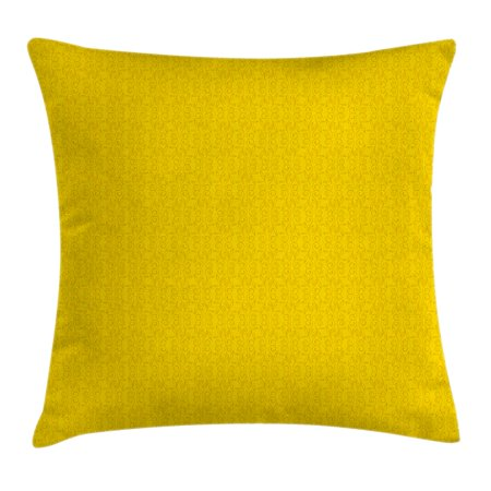 Artworks Home Pattern - Yellow Decor Throw Pillow Cushion Cover, Modern Leaf Branch Abstract Ivy Vines Pattern Artwork with Flower Like Art Circles, Decorative Square Accent Pillow Case, 24 X 24 Inches, Yellow, by Ambesonne