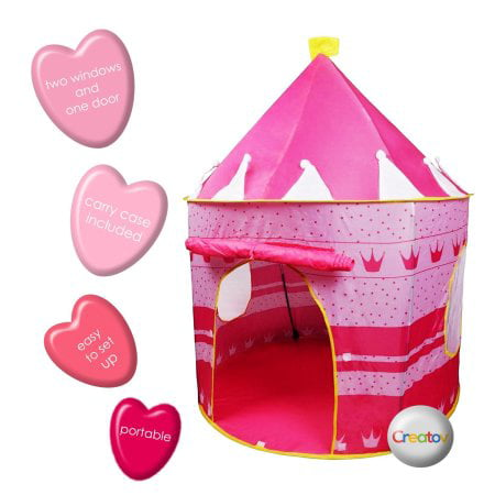 Children Play Tent Girls Pink Castle for Indoor/Outdoor Use, Foldable with Carry Case By Creatov - Play Tents For Kids