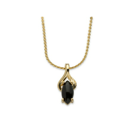 Genuine Lapis Pendant (Genuine Black Onyx Yellow Gold Tone Pendant Marquise Necklace 18
