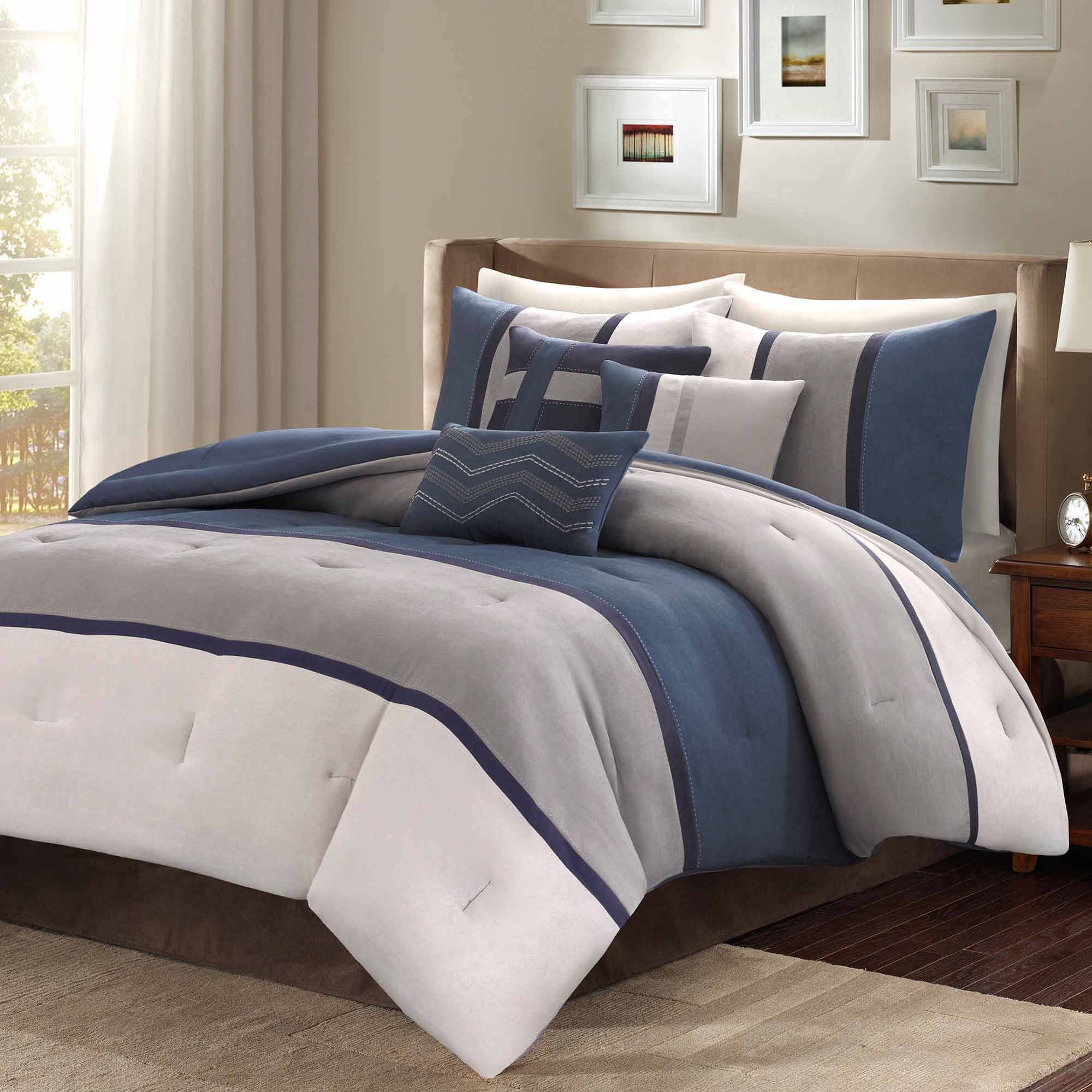 com microsuede ip bedding better walmart suede mini set gardens homes pieced and micro comforter