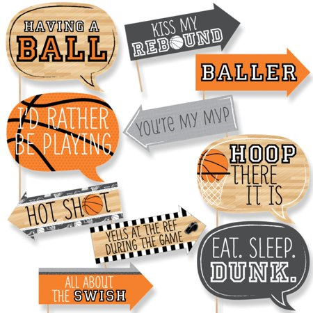 Funny Nothin' But Net - Basketball - Tailgating Party Photo Booth Props Kit - 10 Piece Ball Party Kit