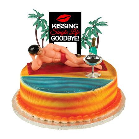 Bachelorette Party Kissing Single Life Goodbye Macho Man Cake Decoration Topper