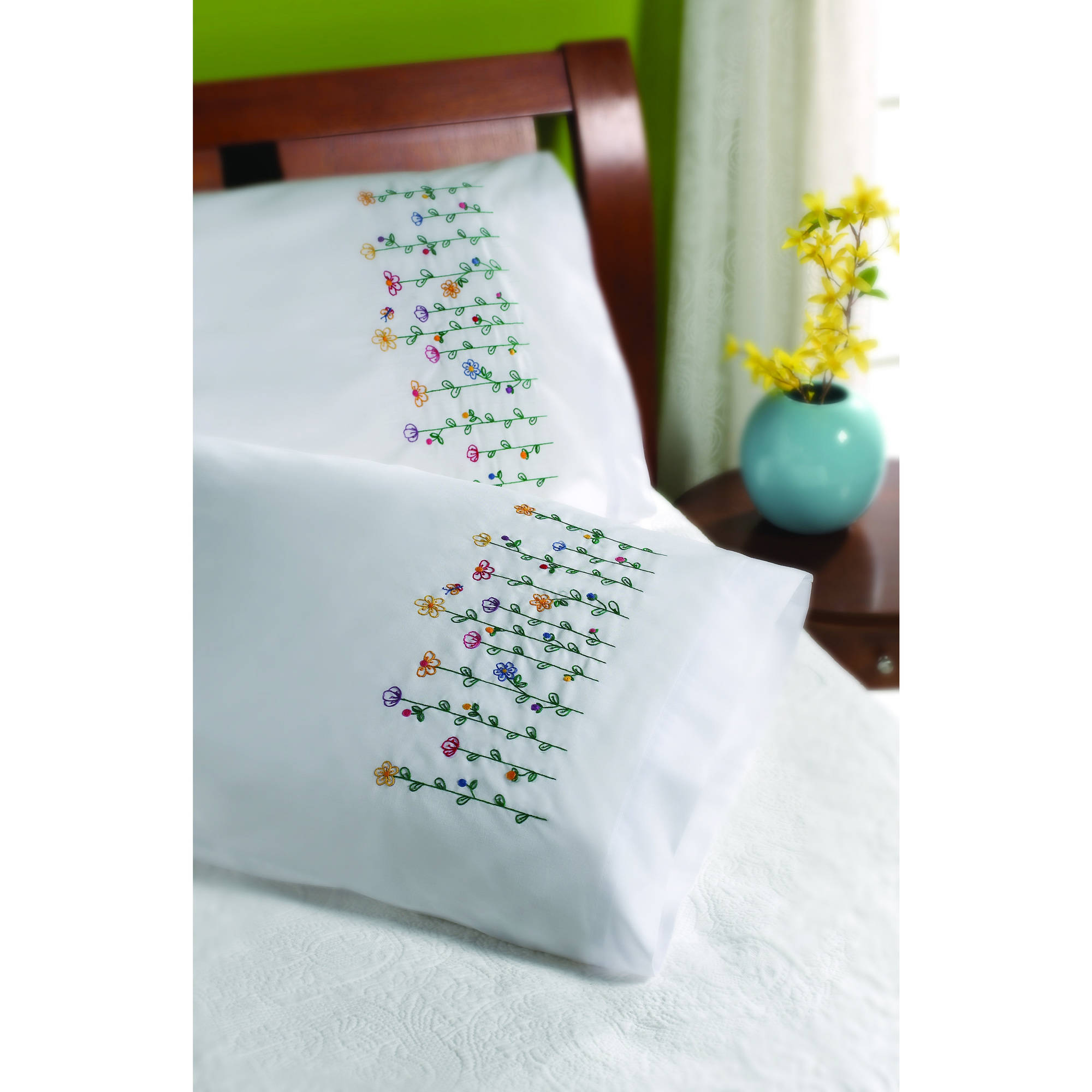 "Bucilla   Stamped Cross Stitch and Embroidery Pillowcase Pair Kit by Plaid, Tall   Flowers, Set of 2, 30"" x 20"" each"