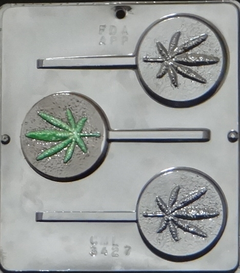 Click here to buy 3427 Marijuana Leaf Lollipop Chocolate Candy Mold.