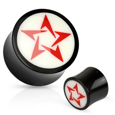 Flared Plugs - Red Star On White & Black Double Flared Ear Plug (16mm, 5/8 Inch) - 2 Piece