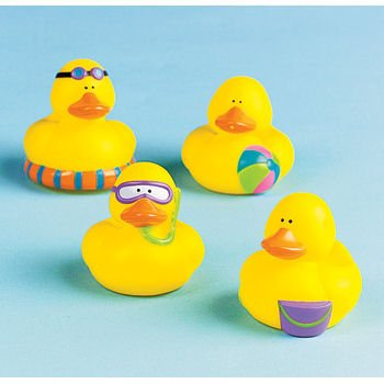 Mini Beach Rubber Duckie Ducky Duck Party Favors - 12 Pieces, Each ducky measures approx. 2