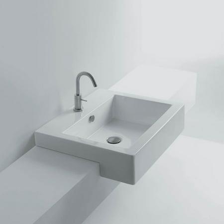 WS Bath Collections Quad 60S Semi Recessed Bathroom Sink