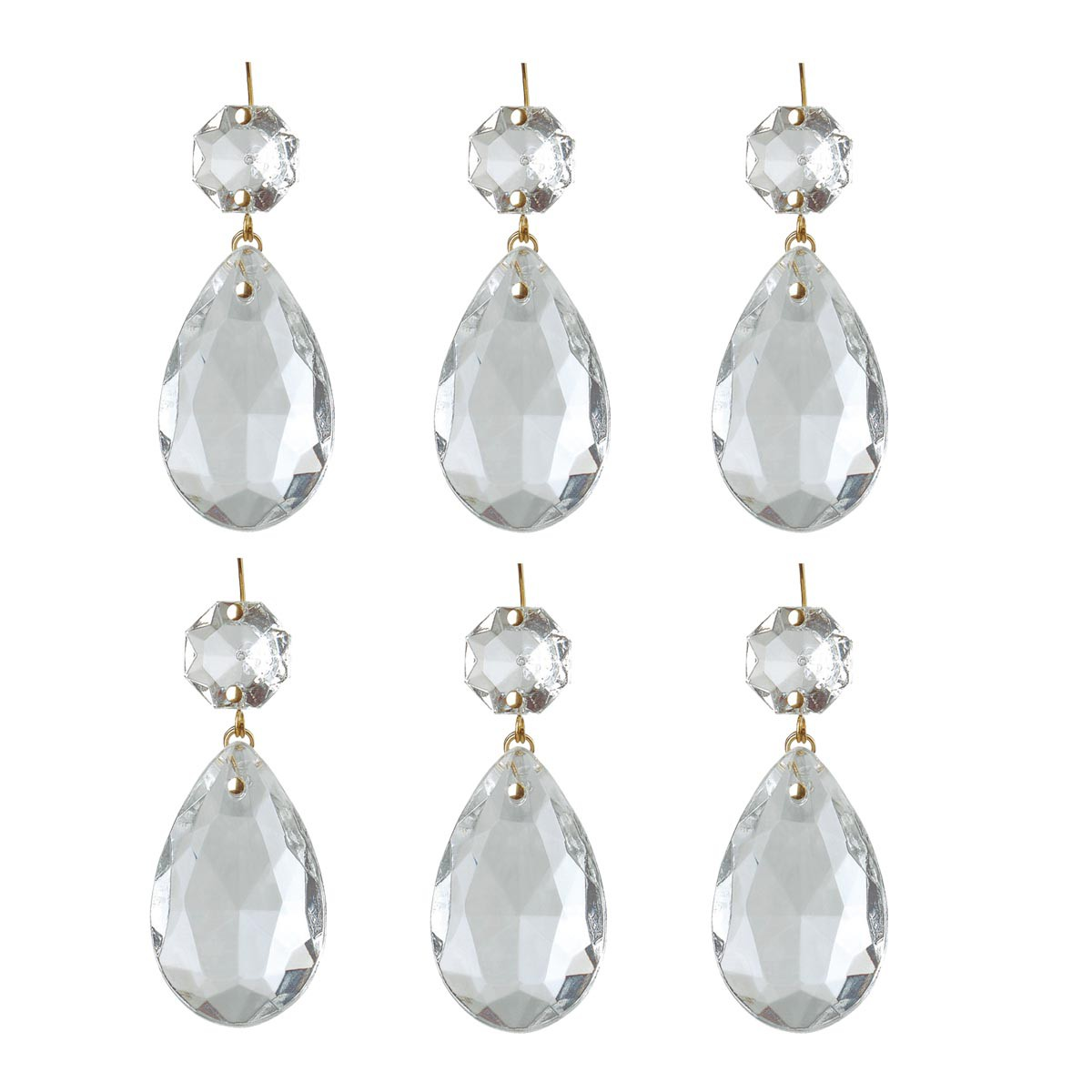 "6 Prisms Clear Glass Chandelier Bobeche Pendant 1.5"" by The Renovator's Supply"