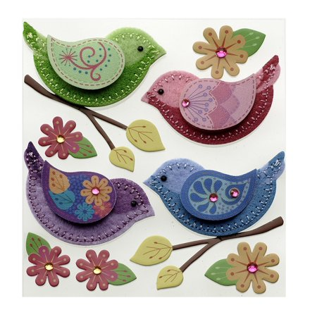 Paper Embellishments (Dimensional Embellishment, Stitched Colorful Birds, Jolee's Boutique dimensional embellishments bring unique and interesting details to paper crafts By Jolee's Boutique )