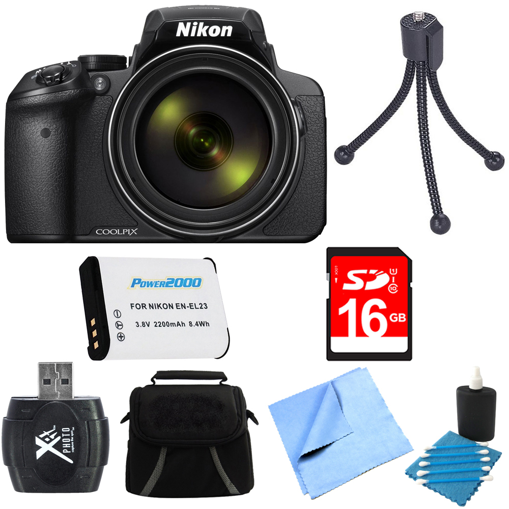 Nikon COOLPIX P900 16MP 83x Super Zoom Digital Camera Full HD Video Black 16GB Bundle - Includes Camera, Card Reader, Gadget Bag, 16GB Memory Card, Battery, Mini Tripod and More