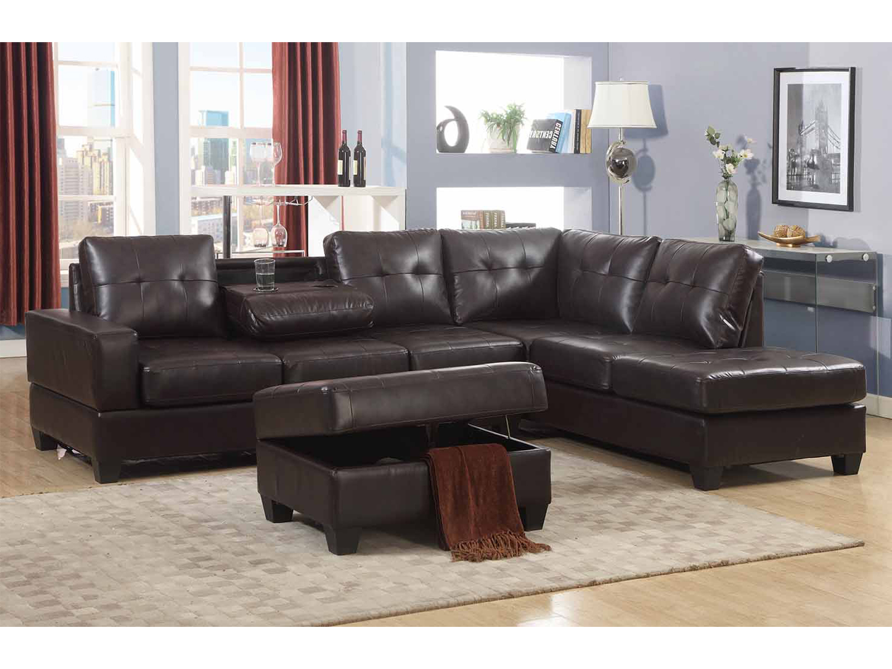 Emily 3 Pc Dark Brown Faux Leather Reversal Sectional Sofa Set With