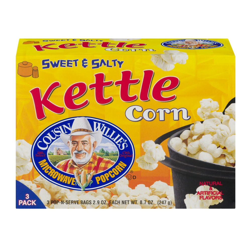 Cousin Willie's Microwave Popcorn Pop-N-Serve Bags - 3 PK, 2.9 OZ