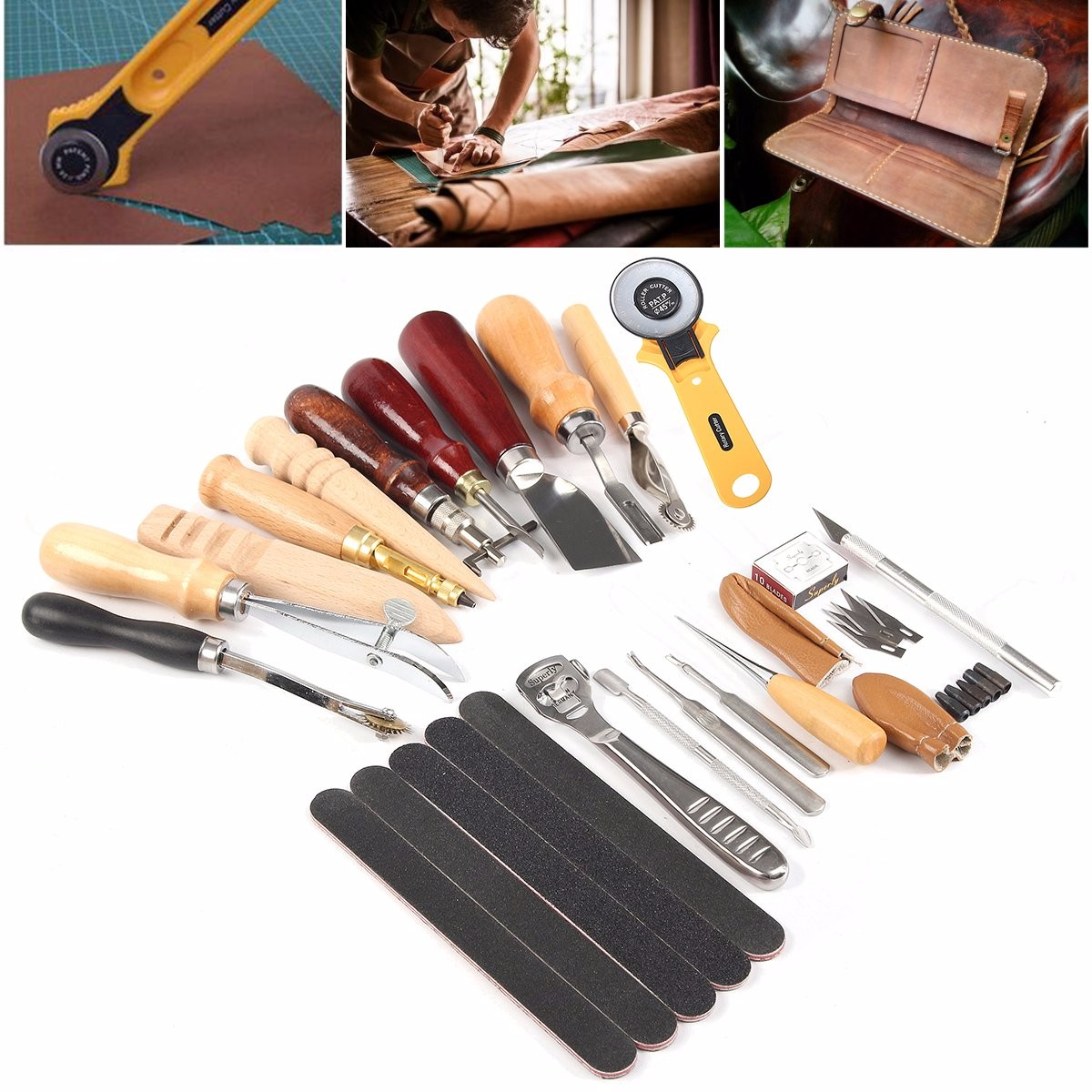 20 In 1 20pcs Set Leather Craft Tools Kit Stitching Sewing Punch