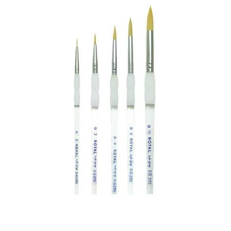- Royal Brush Soft Grip Round Golden Taklon Fiber Paint Brush Set, Assorted Size, Set of 5