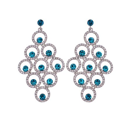 Austrian Silver Tone Crystal Clear Aqua Peacock Circle Cute Chandelier Earrings