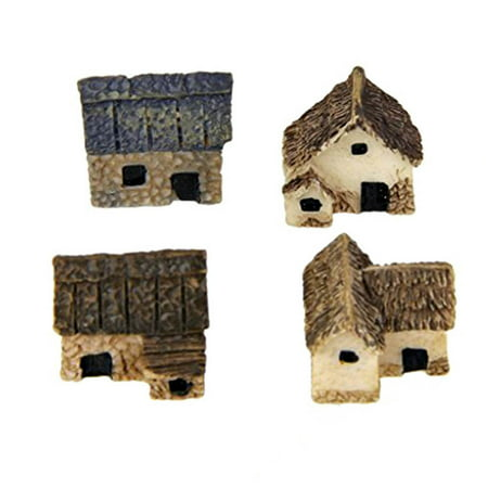 Electronicheart 4pcs Miniature Fairy Garden Stone Houses Mini Cottage House Miniatures Decor Accessories Gardening Decoration Kit - image 1 of 6