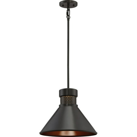 Pendants 1 Light With Dark Bronze with Copper mesh Finished LED 14 inch 15 Watts