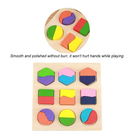 Rdeghly Enfants jouet éducatif en bois ensemble géométrique de blocs de construction puzzle bébé outil d'apprentissage précoce, jouet géométrique, blocs de construction en bois - image 4 de 8