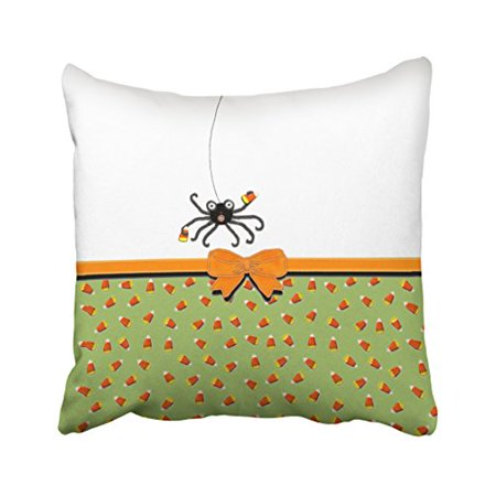 WinHome Creative Funny Spider Bow Tie Candy Halloween Decor Polyester 18 x 18 Inch Square Throw Pillow Covers With Hidden Zipper Home Sofa Cushion Decorative Pillowcases (Halloween Candy Bowl Out On Porch)