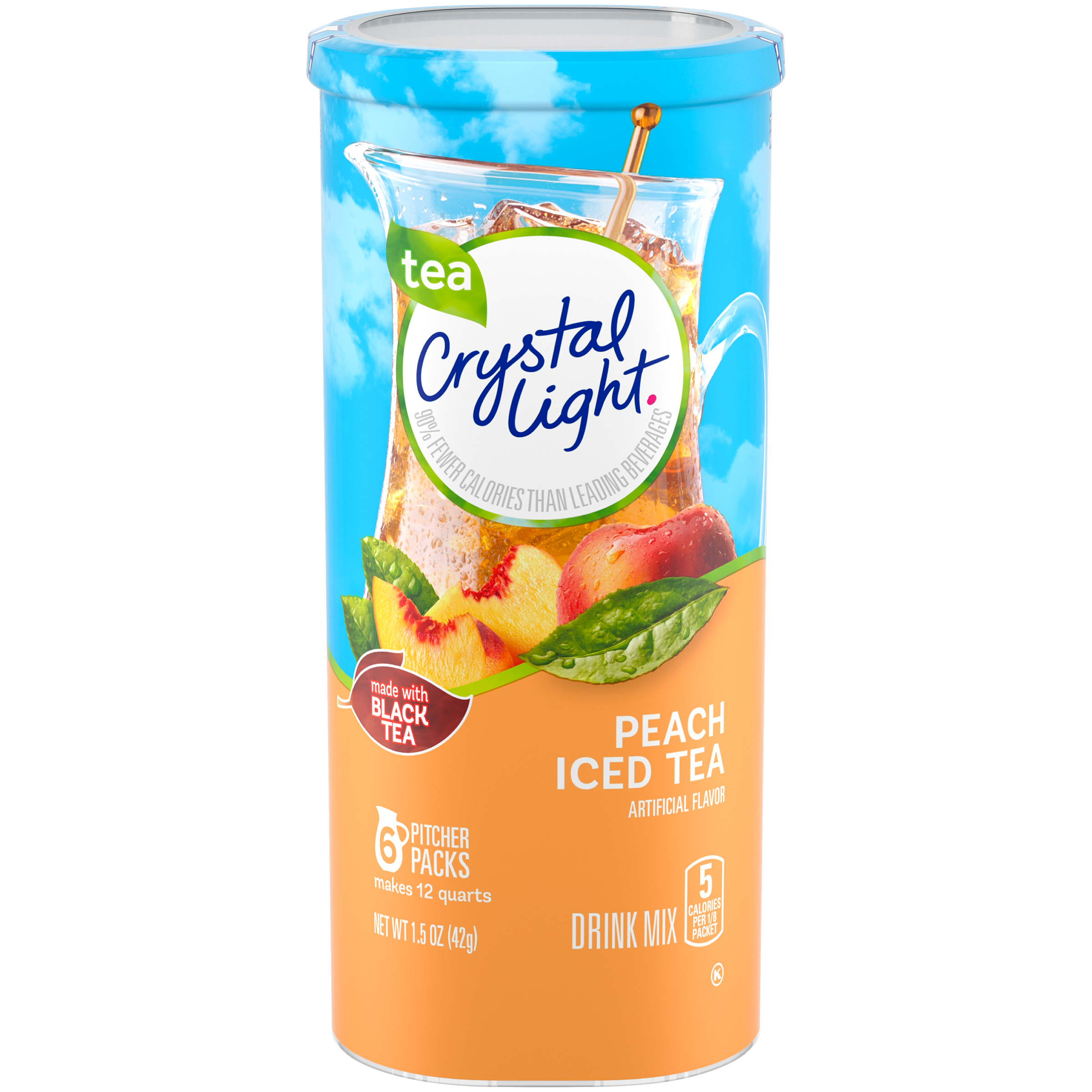 Crystal Light Drink Mix , Peach Iced Tea, 1.5 Oz, 6 Packets, 1 Count