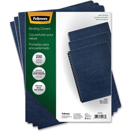 Fellowes Leather (Fellowes, FEL52136, Expressions Premium Textured Covers, 200 / Pack, Navy )