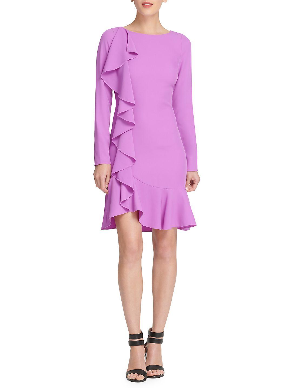 Long-Sleeve Ruffled Sheath Dress