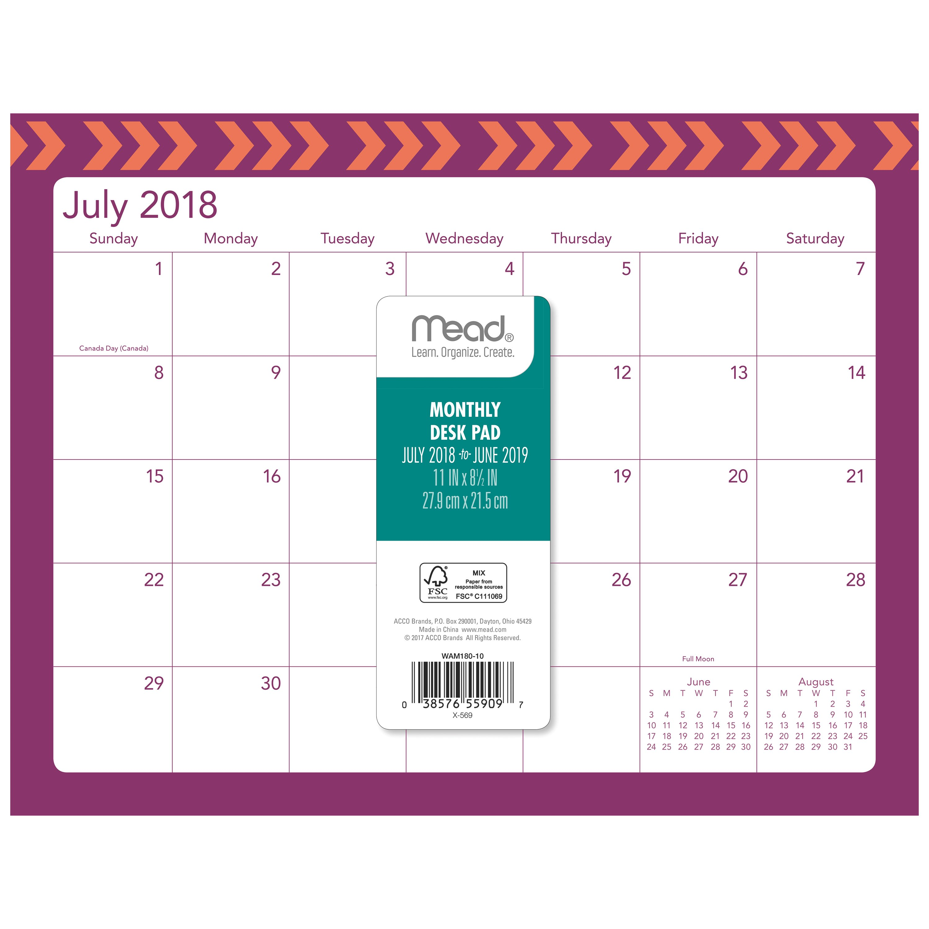 Mead Academic Mini Monthly Desk Pad Calendar,2 Months,Assorted Designs