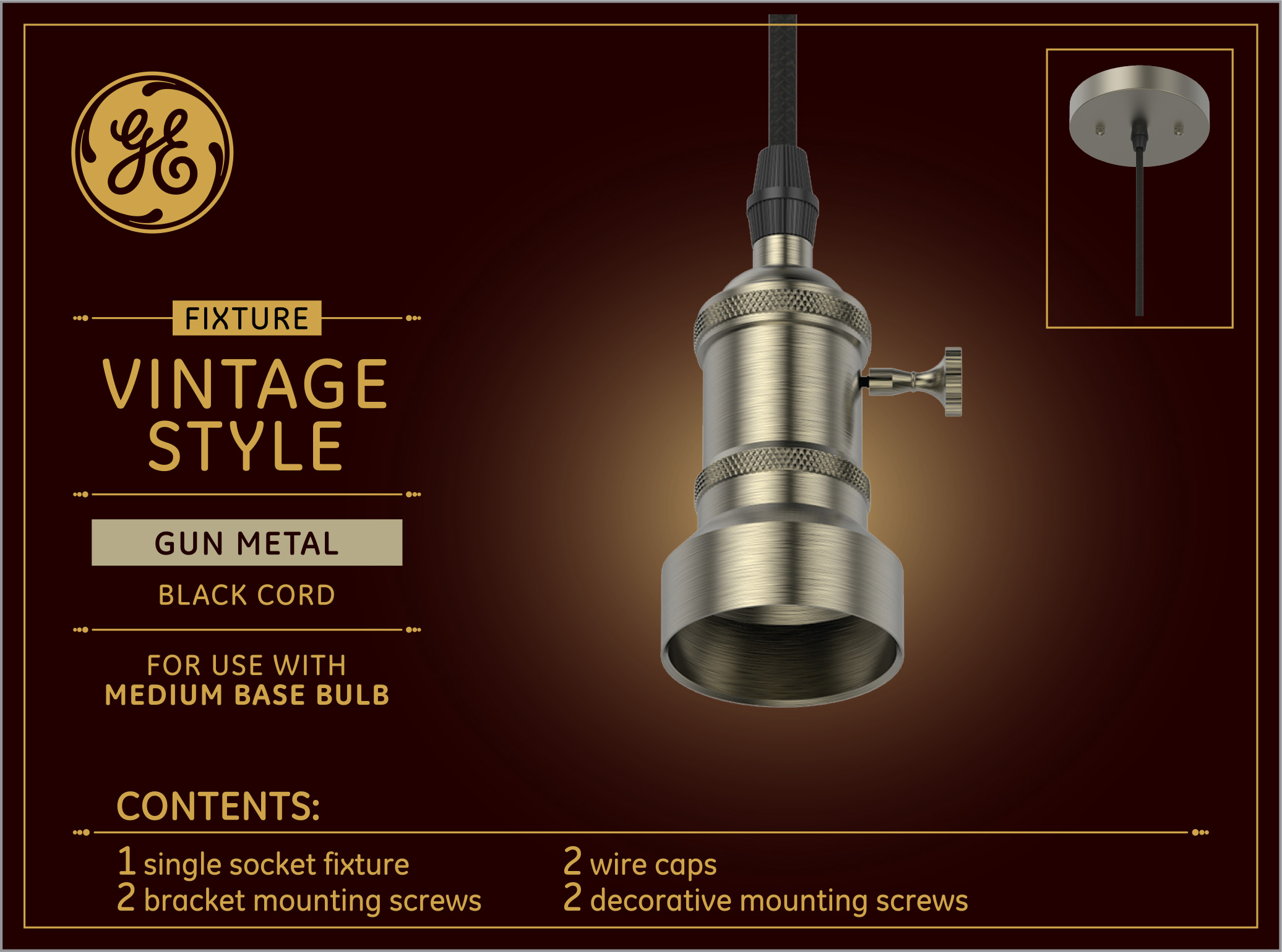 GE Gun Metal Finish Light Bulb Pendant