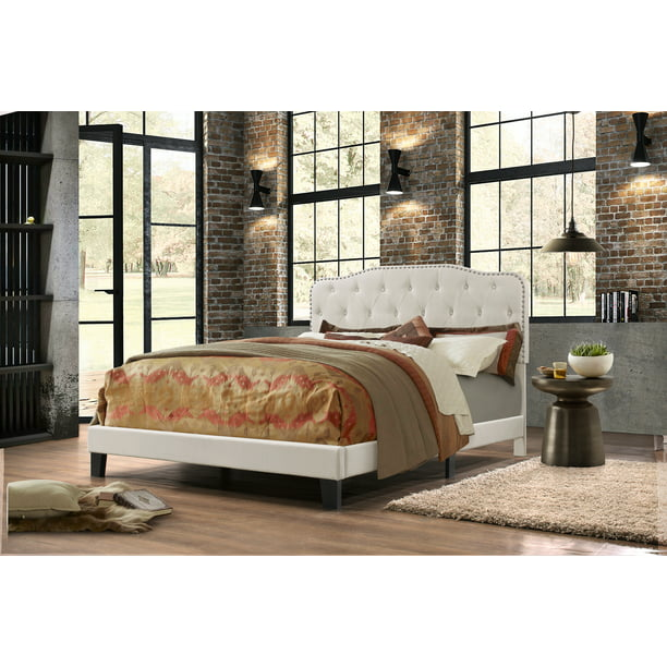 Ta Family Furniture Uph. Panel Bed in Velvet Fabric, 2 Colors to Choose (Black or Navy) & 3 Different Sizes (Q, F or T) - B102