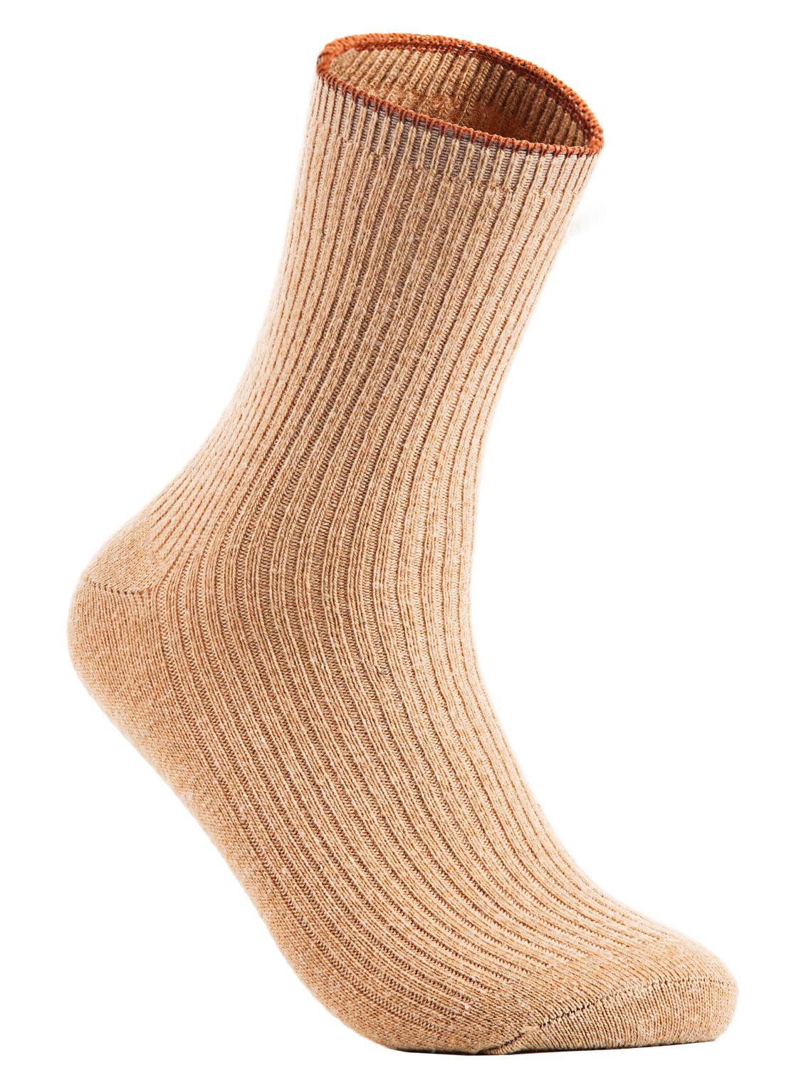 Lian LifeStyle Big Girl's 4 Pairs Wool Crew Socks HR1612 Size L/XL Casual (Beige)