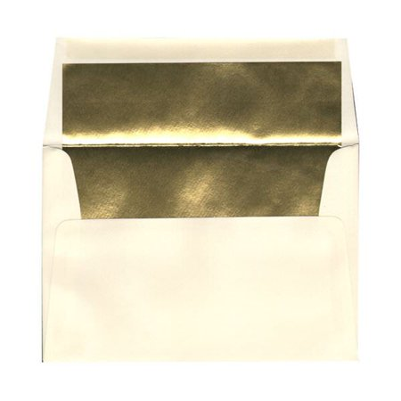JAM Paper A8 Foil Lined Invitation Envelopes, 5 1/2 x 8 1/8, Ecru with Gold Foil Lining, 250/pack