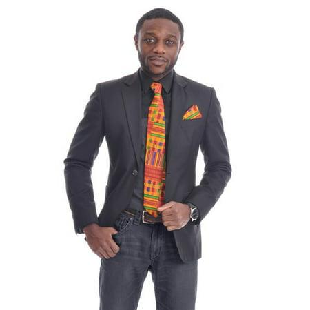 Border Print Tie - Kente African Print Necktie