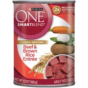 Purina ONE SmartBlend Classic Ground Beef & Brown Rice Entree Adult Dog Food 13 oz. Can