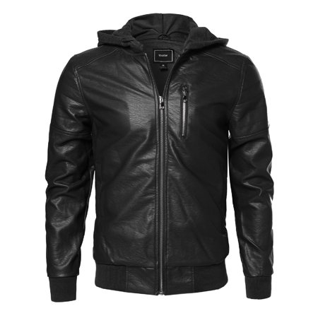 FashionOutfit Men's Leather Bomber Jacket With Detachable Hood