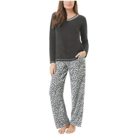Aria Collection Womens 2-Piece Stretch Microfleece Pajama Set (Black Animal, - Animal Womens