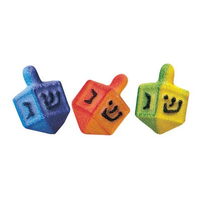 Dreidel Assortment Edible Sugar Decorations - 12 Count - 26189