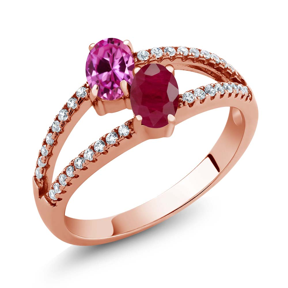 1.51 Ct Pink Created Sapphire Ruby Two Stone 18K Rose Gold Plated Silver Ring by