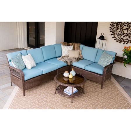 Bayou Breeze Kettner 5 Piece Rattan Sunbrella Sectional Sofa Seating Group  with Cushions