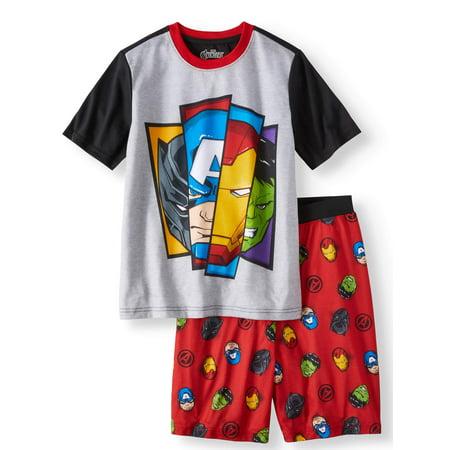 Boys' Avengers 2 Piece Pajama Sleep Set (Little Boy & Big - Boys Glow In The Dark Pajamas